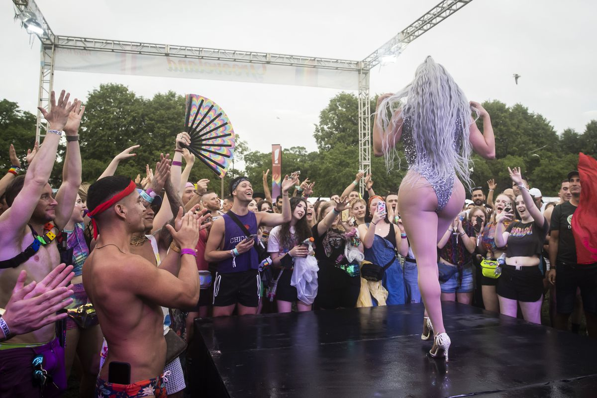 Chicago drag queen Denali Foxx performs Saturday afternoon at Pride in the Park in Grant Park.