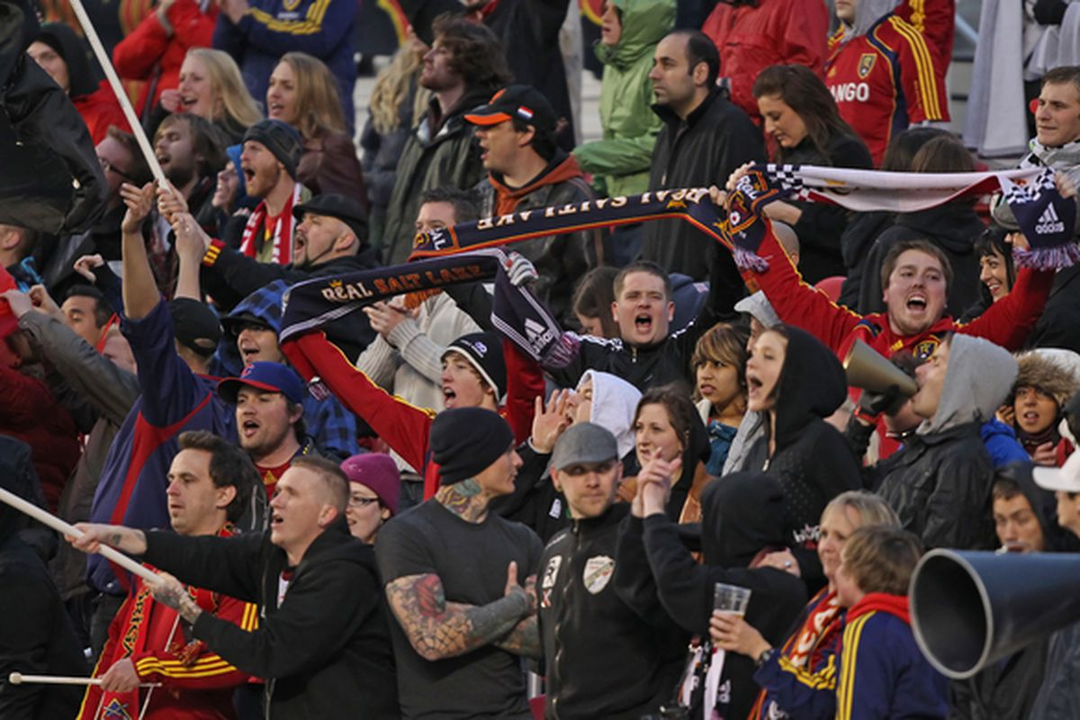 SANDY, UT- MAY 01:   Real Salt Lake fans cheer during a game against the Toronto FC in the second half of an MLS soccer game on May 1, 2010 in Sandy, Utah. Real Salt Lake Beat Toronto FC 2-1. (Photo by George Frey/Getty Images)