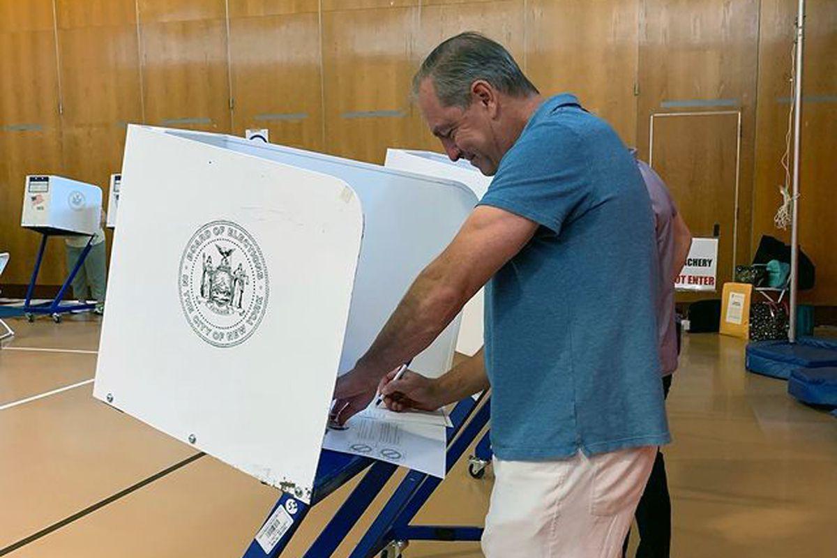 Staten Island borough president candidate Vito Fossella votes at I.S. 24, June 22, 2021.