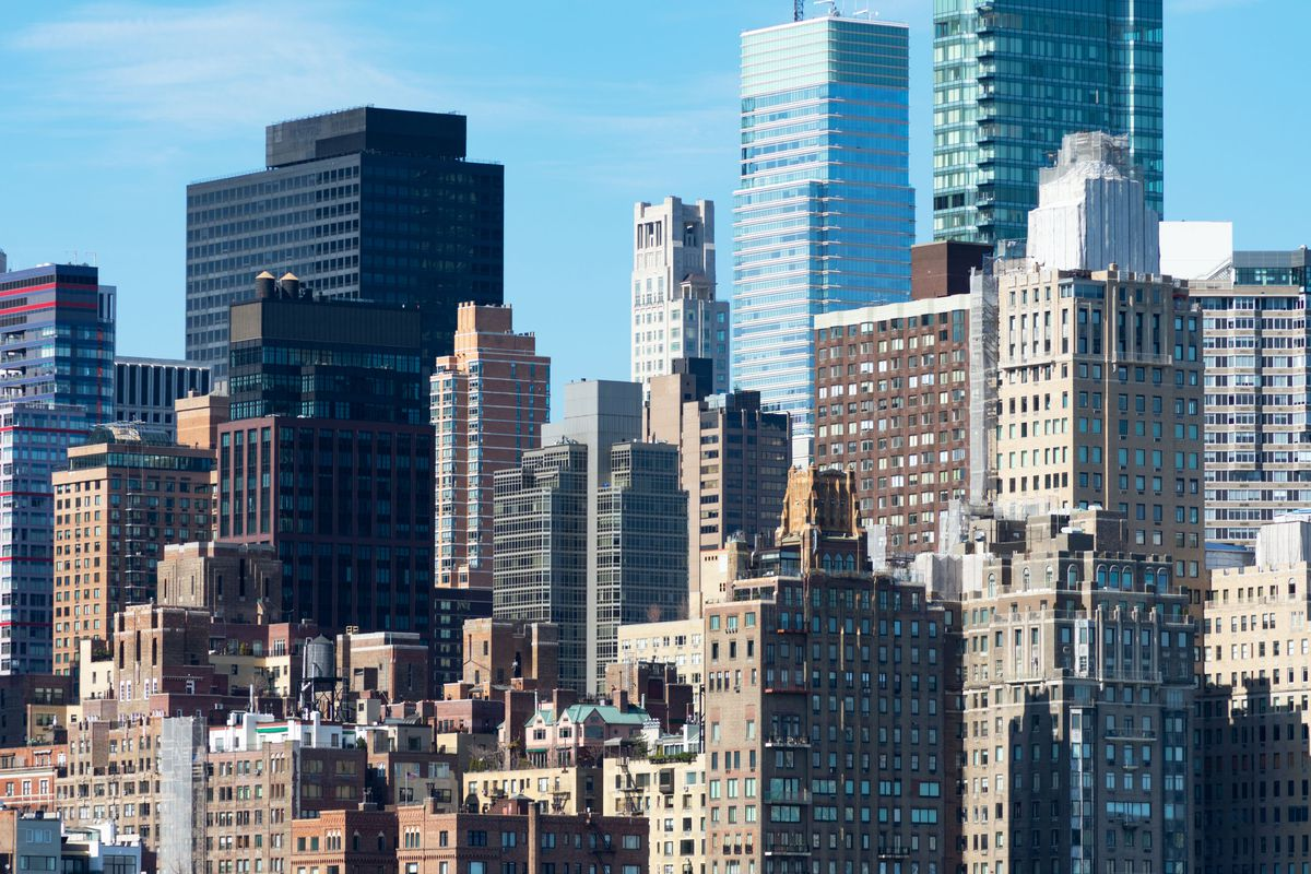 A view of several tall buildings in Midtown, Manhattan.