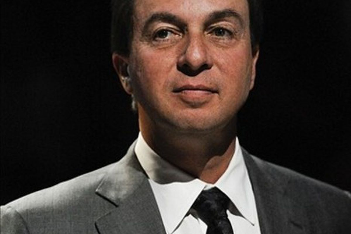 Mar 02, 2012; Philadelphia, PA, USA; Golden State Warriors owner Joe Lacob during halftime against the Philadelphia 76ers at the Wells Fargo Center. The Sixers defeated the Warriors 105-83. Mandatory Credit: Howard Smith-US PRESSWIRE