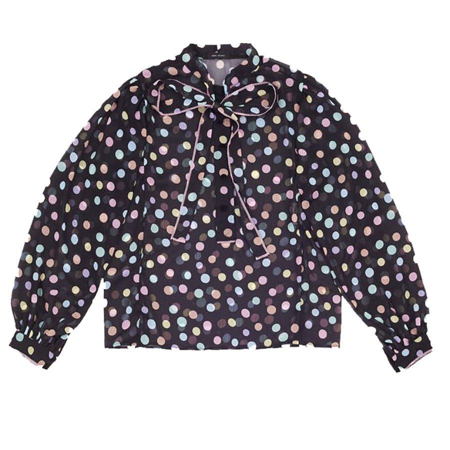 black blouse with pastel polka dots
