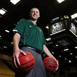 Utah Valley University men's basketball coach Mark Pope poses for a portrait in Orem, Wednesday, April 29, 2015.