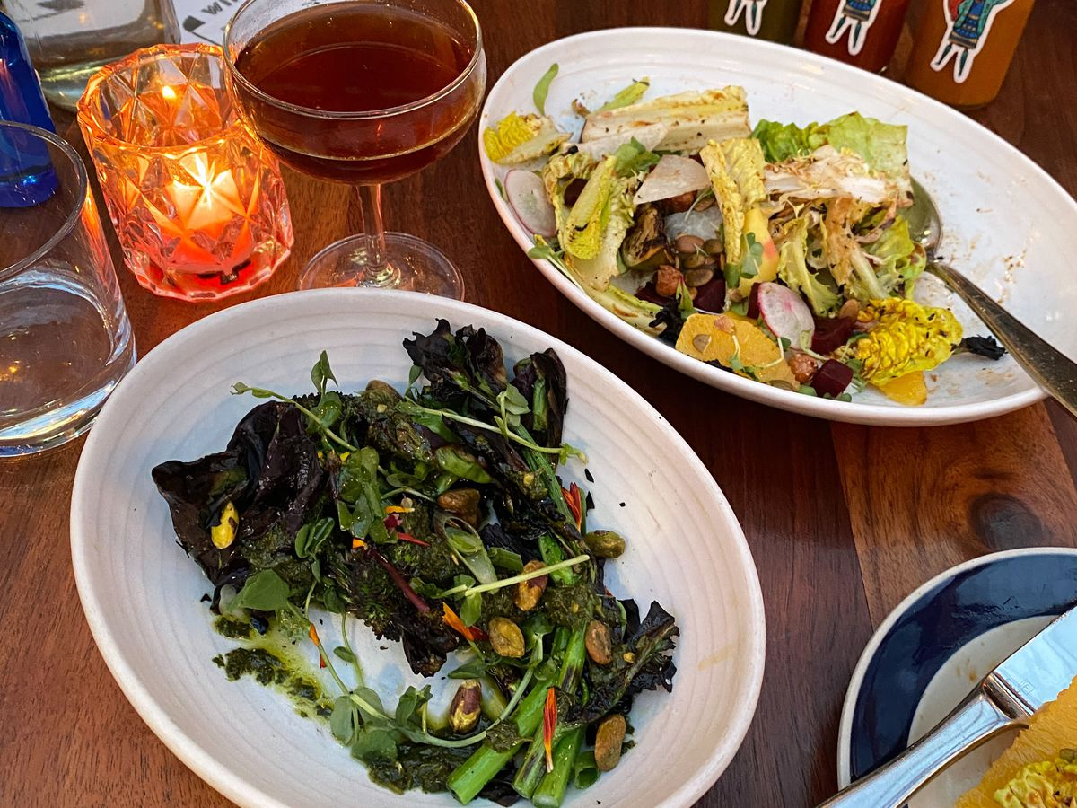 A photo of various vegan dishes at Nightingale