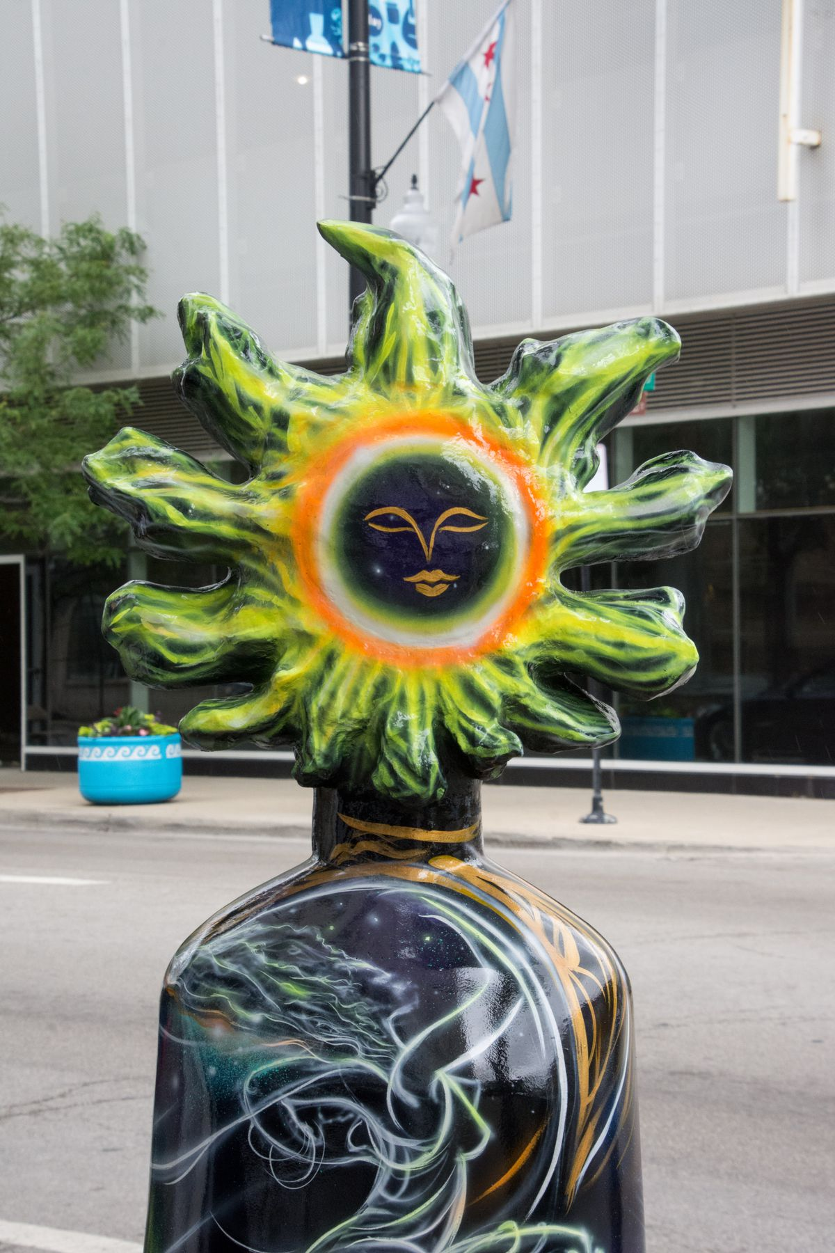 """This work of art by Tyrue Slang Jones is one of 24 sculptures featured in the outdoor exhibition """"Hello Helios"""" in Greektown."""