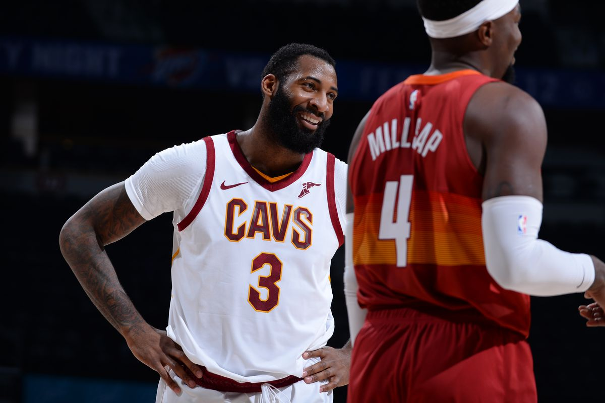 Andre Drummond of the Cleveland Cavaliers smiles during the game against the Denver Nuggets on February 10, 2021 at the Ball Arena in Denver, Colorado.