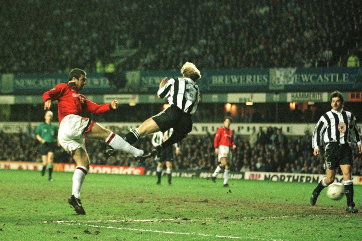 Eric Cantona scores the winning goal Newcastle United v Manchester United March 1996.