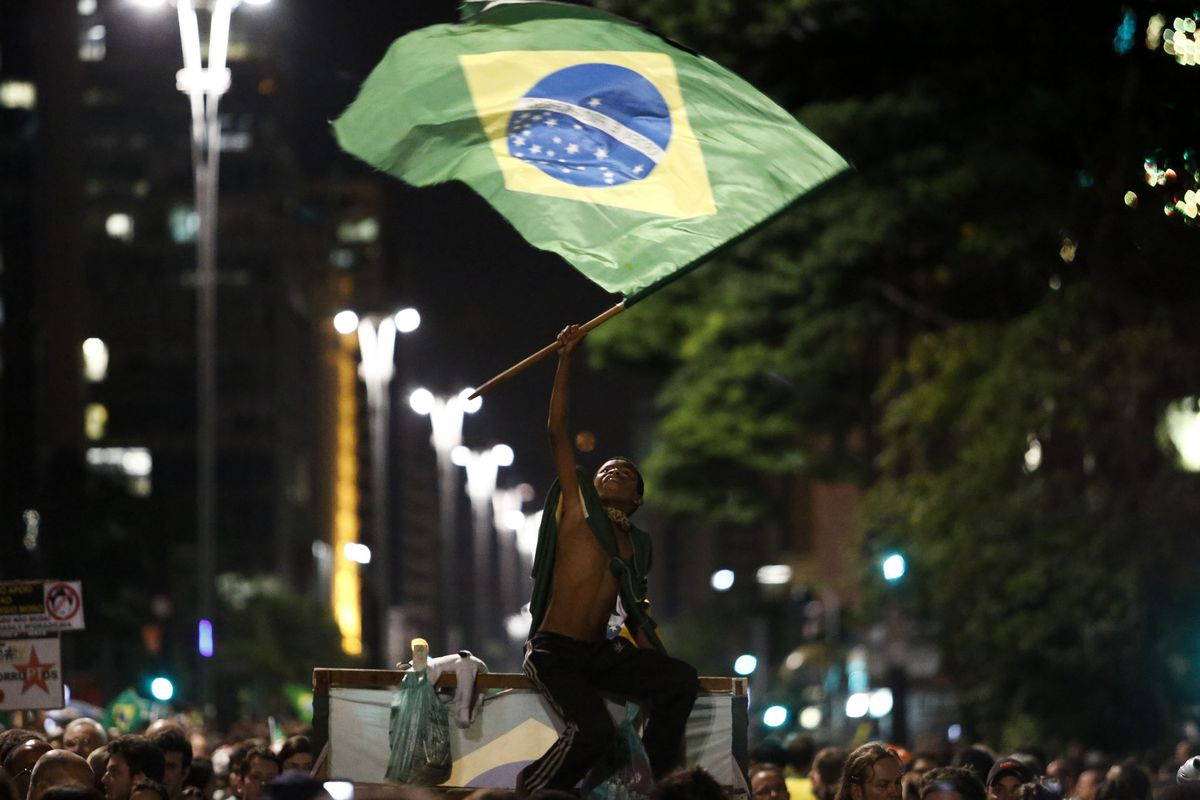 Demonstrators rally for Brazilian President Dilma Rousseff's impeachment along Paulista Avenue in Sao Paulo on March 16, 2016.