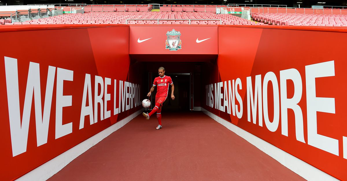 Liverpool Unveil New Signing Thiago Alcantara, pictured here juggling in the Andfield tunnel wearing the 2020/21 home kit