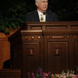 President Dieter Uchtdorf conducts saturday morning session during the 182nd Annual General Conference for The Church of Jesus Christ of Latter-day Saints in Salt Lake City  Saturday, March 31, 2012.