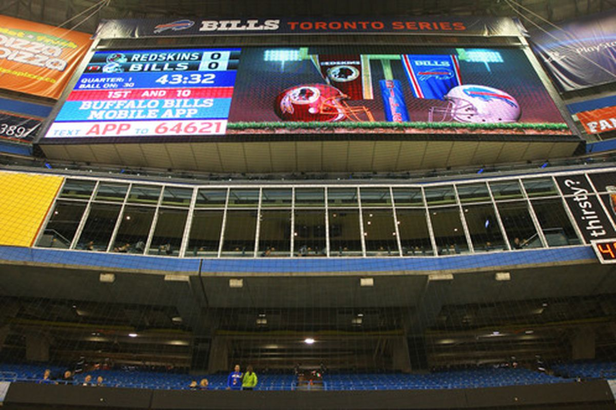 TORONTO, ON - OCTOBER 30: The scoreboards before the Washington Redskins NFL game against the Buffalo Bills at Rogers Centre on October 30, 2011 in Toronto, Canada. (Photo by Tom Szczerbowski/Getty Images)