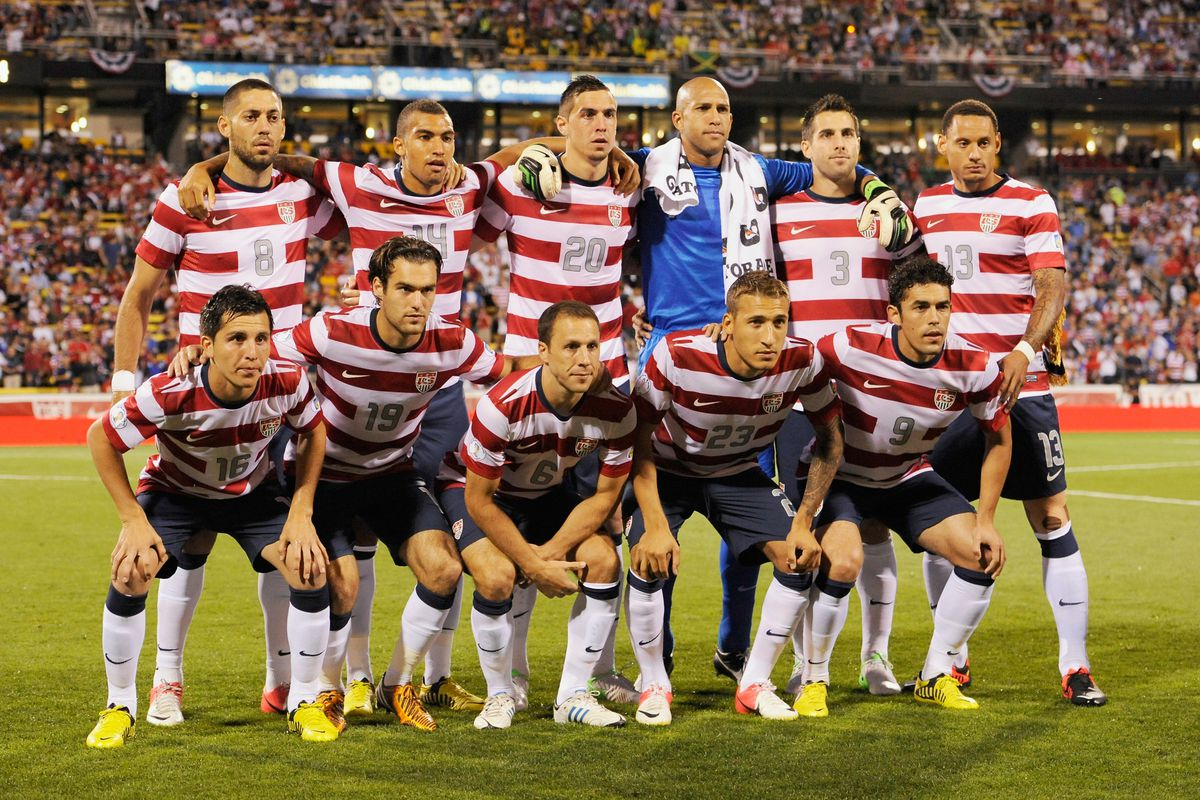 Graham Zusi (front row, second from left) was in the starting lineup for the United States against Jamaica Tuesday night.  (Photo by Jamie Sabau/Getty Images)