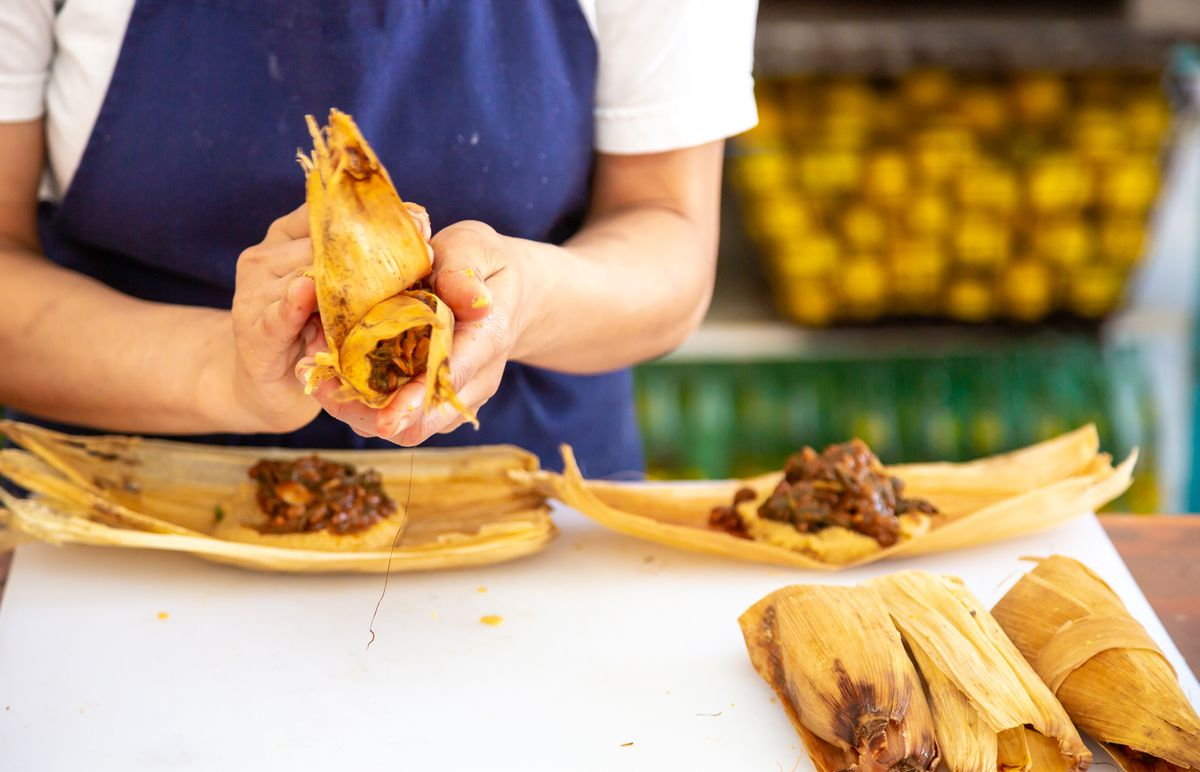Maricela Vega making tamales