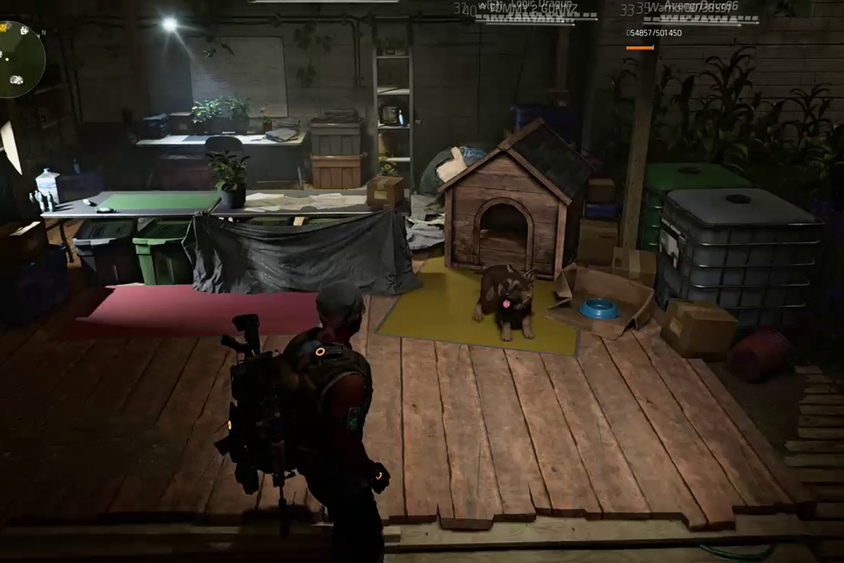 A puppy in front of a doggie house in the Haven hub world of The Division 2