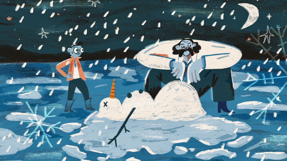 An original illustration shows two characters looking at a fallen snowman