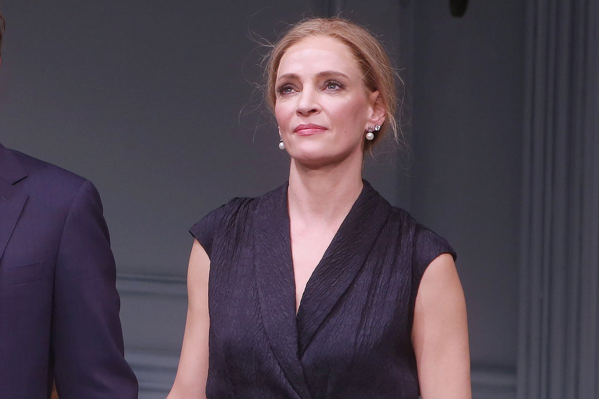 "Uma Thurman during curtain call for the play ""The Parisian Woman"" on November 30, 2017"