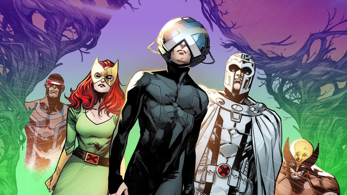 artwork of X-Men Cyclops, Jean Grey, Professor X, Magneto, Wolverine