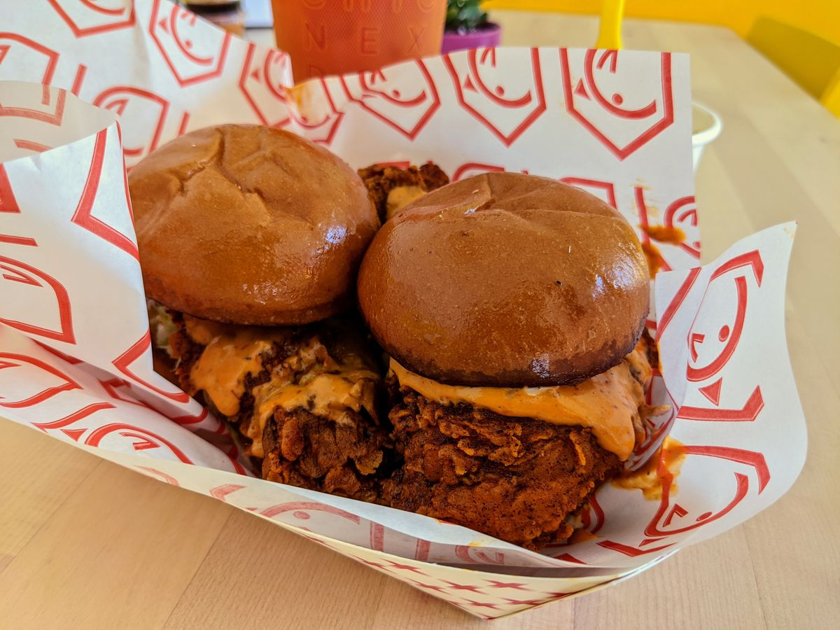 Chick Next Door sliders on a tray