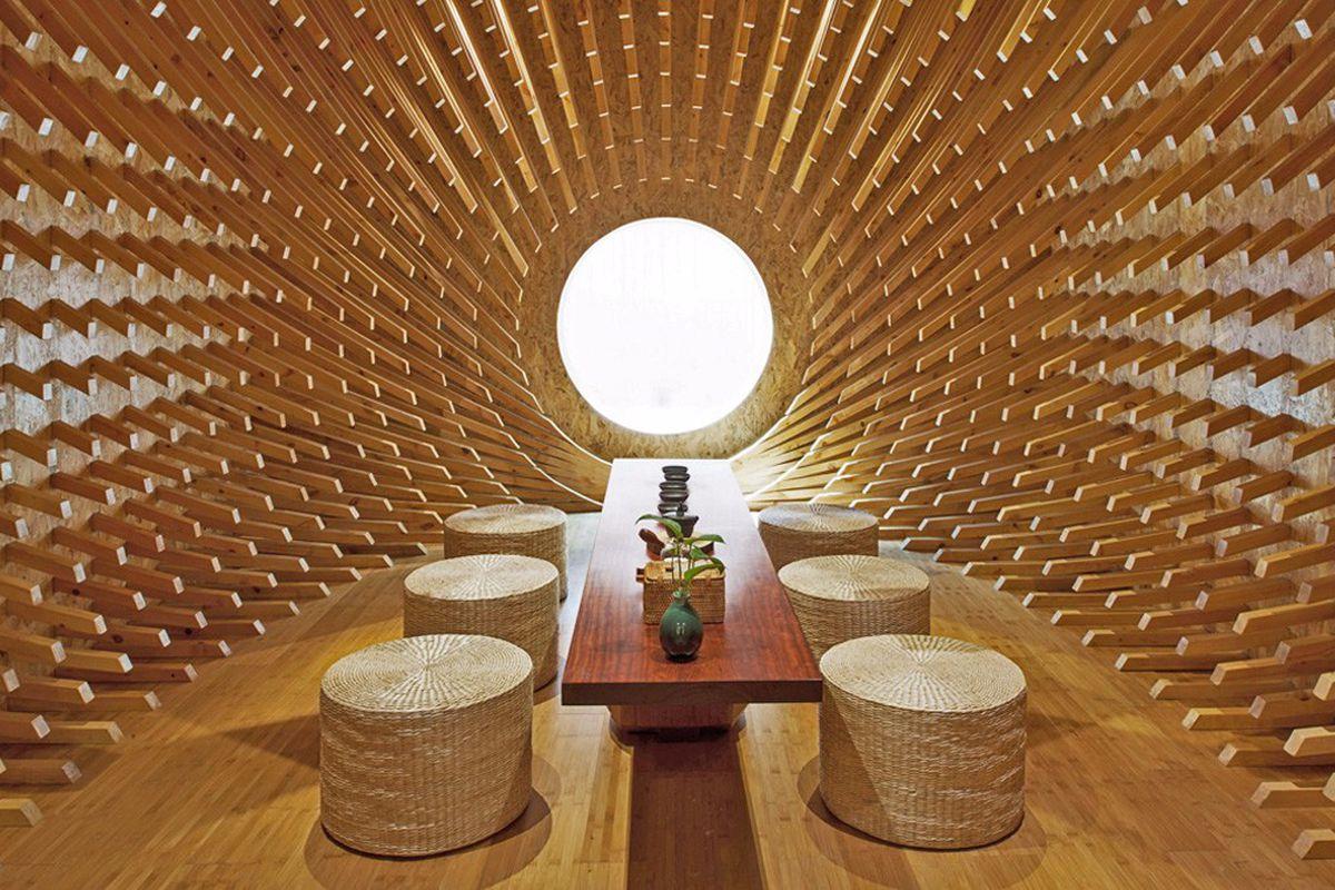 Wood tea room with table