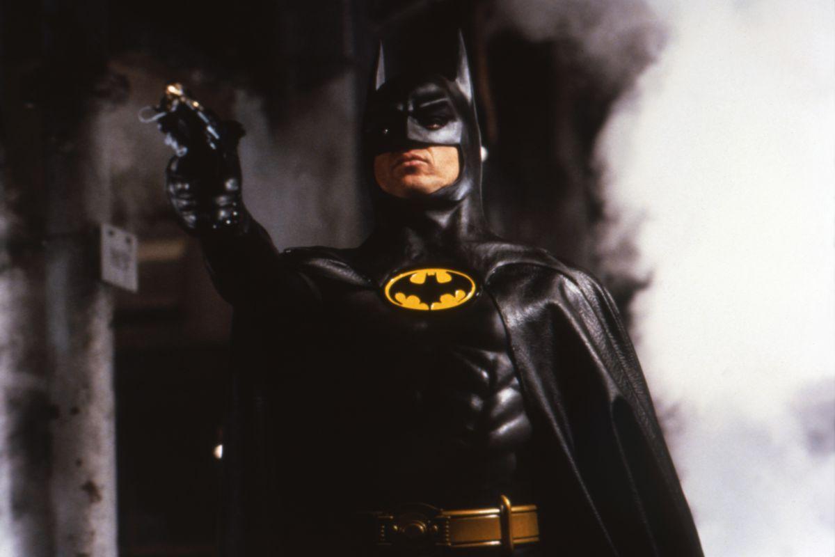Michael Keaton in costume as Batman from the 1989 Tim Burton film