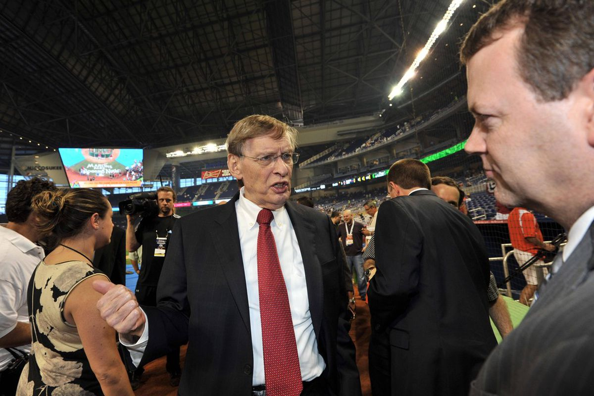 April 4, 2012; Miami, FL, USA; MLB commissioner Bud Selig in attendance before the opening day game between the Miami Marlins and the St. Louis Cardinals at Marlins Ballpark. Mandatory Credit: Steve Mitchell-US PRESSWIRE