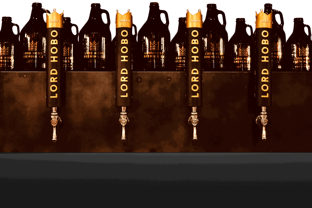 Four tap handles at Lord Hobo Brewing, which plans to expand to Boston's Seaport District
