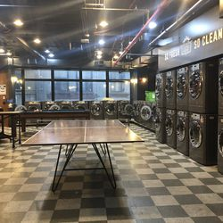 The laundry room at WeLive doubles as an arcade