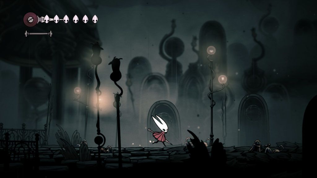 hornet fights in a darkened level in hollow knight: silksong.