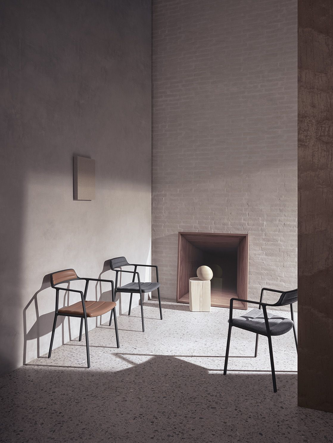 Chairs sitting against wall