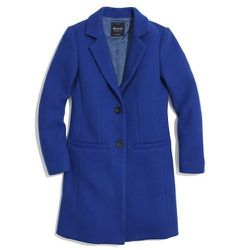 """""""This men's inspired car coat ($298) is featured in one of the season's hottest colors. It's a great alternative to the classic black version most of us already have in our closet."""""""