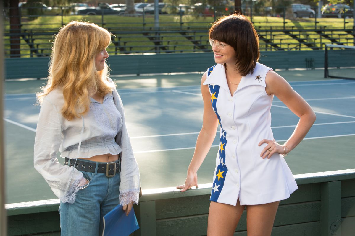 Andrea Riseborough and Emma Stone in Battle of the Sexes
