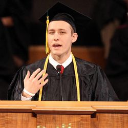 Terrell Hobby speaks during the LDS Business College's 126th commencement ceremony in the Tabernacle on Temple Square in Salt Lake City on Friday, April 12, 2013.