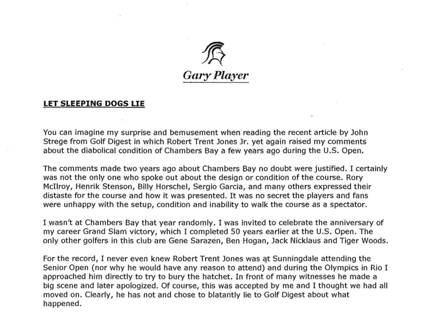 The 5 best parts of Gary Player\'s letter roasting the U.S. Open at ...