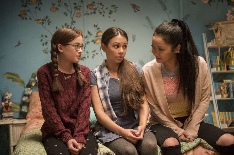 From left, Anna Cathcart as Kitty, Janel Parrish as Margot, and Lana Condor as Lara Jean in To All the Boys I've Loved Before