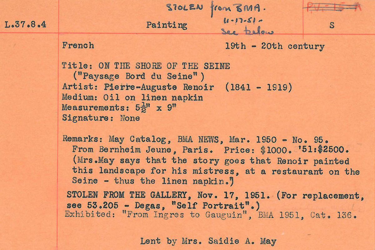 This undated handout image provided by the Baltimore Museum of Art (BMA) shows an orange card, the only record the museum has that a Renior painting was stolen from the BMA,  Nov. 17, 1951. Officials at the BMA are combing through their paper records to l