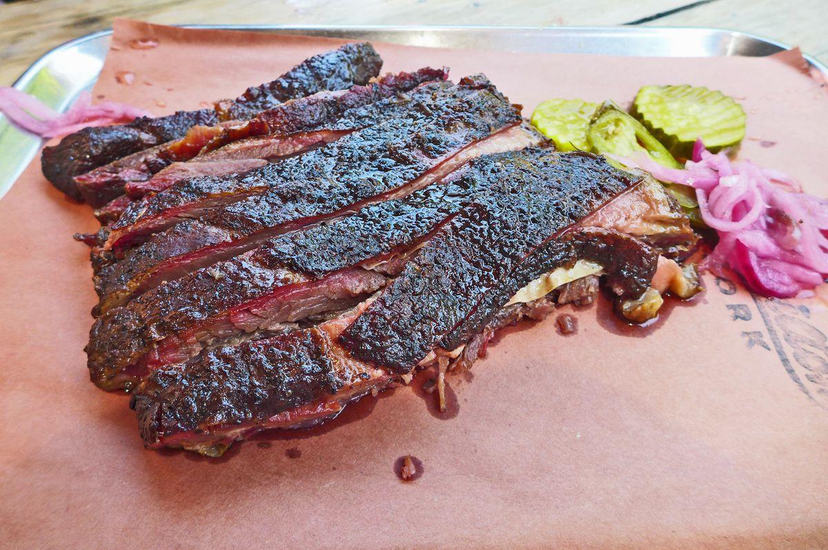 What look like a rack of well-blackened ribs.