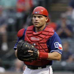 In this Sept. 13, 2009, photo, Texas Rangers catcher Ivan Rodriguez pauses during a baseball game against the Seattle Mariners in Arlington, Texas. A person familiar with the planning tells The Associated Press that Rodriguez plans to announce his retirement Monday, April 23, 2012.