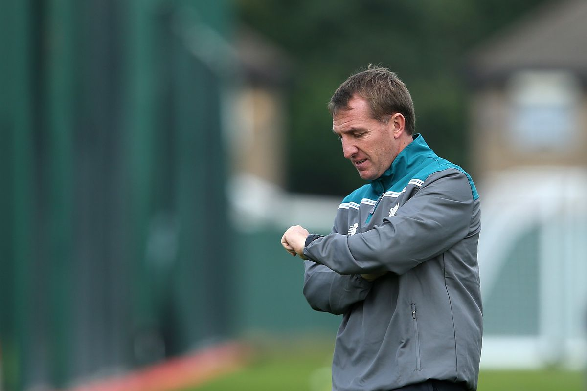 Brendan Rodgers checking his watch. Caption contest below.