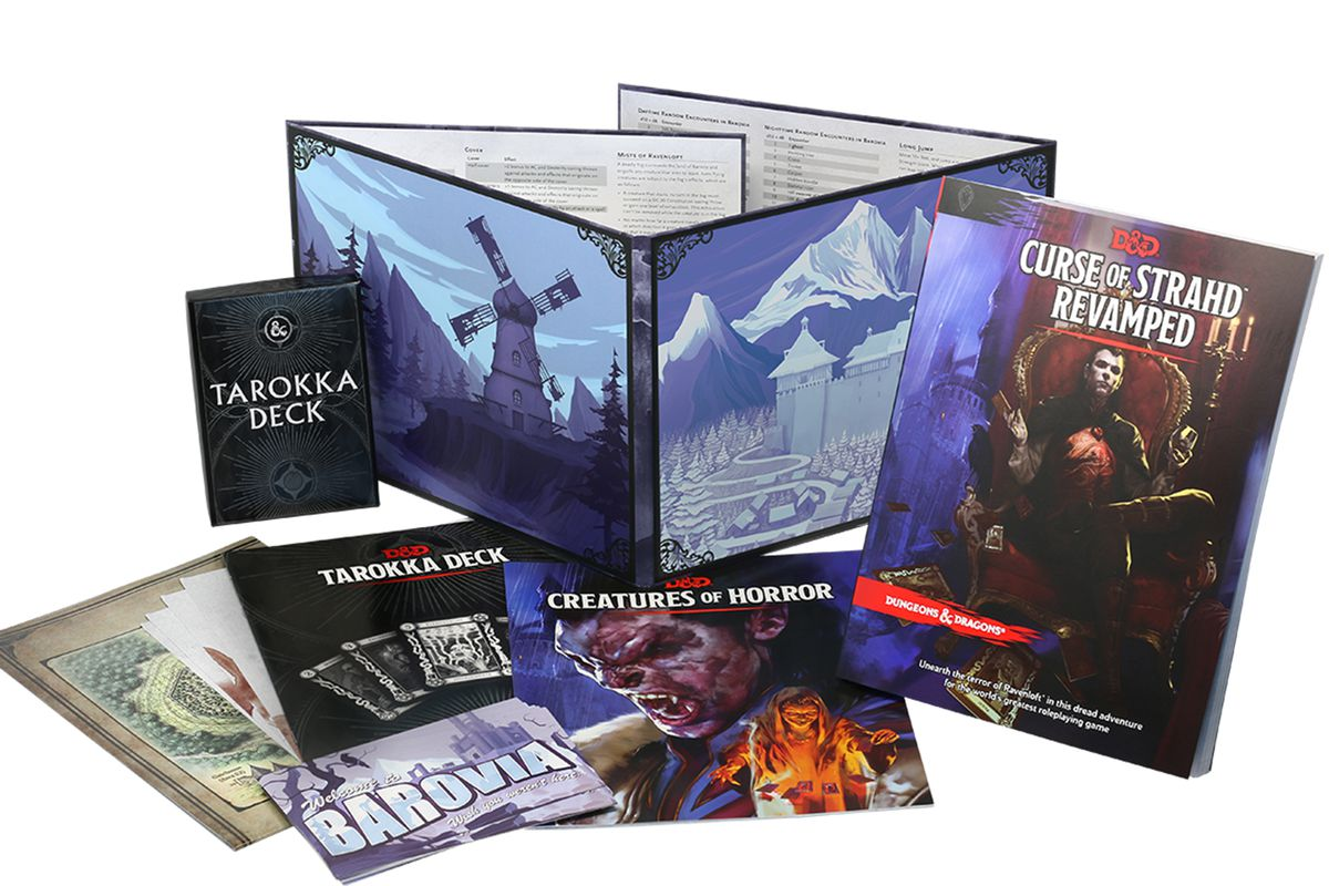 A softcover version of Curse of Strahd Revamped, plus a DM's screen, supplementary booklets, and a deck of cards. There's postcards as well... which will never leave the valley until the curse is lifted muhahahahaah. Cough.