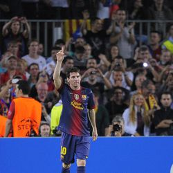 FC Barcelona's Lionel Messi from Argentina reacts after scoring against Spartak Moscow during a Champions League soccer match group G at the Camp Nou stadium in Barcelona, Spain, Wednesday, Sept. 19, 2012.