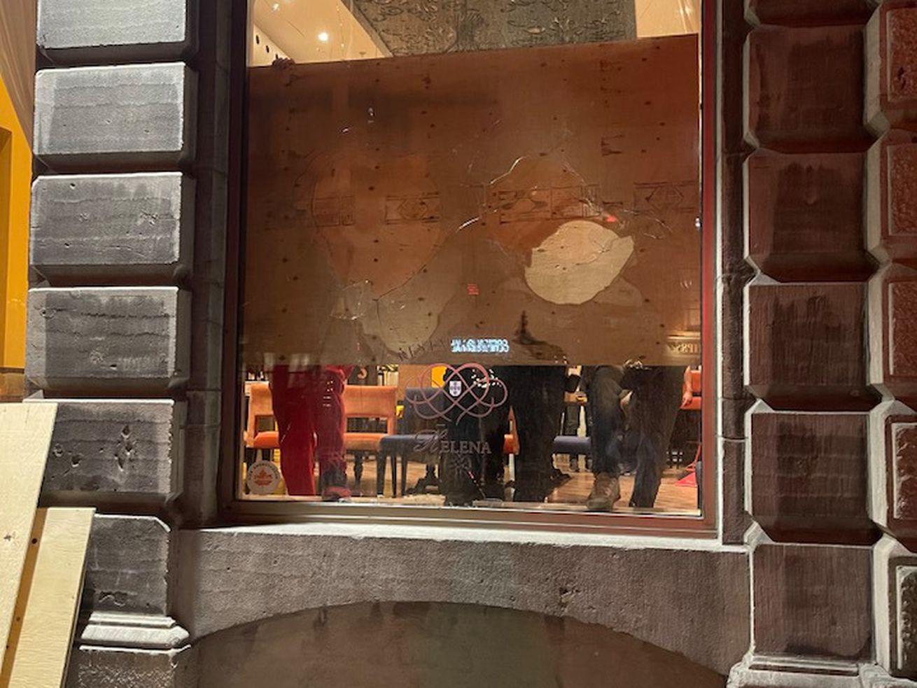 restaurant with broken window