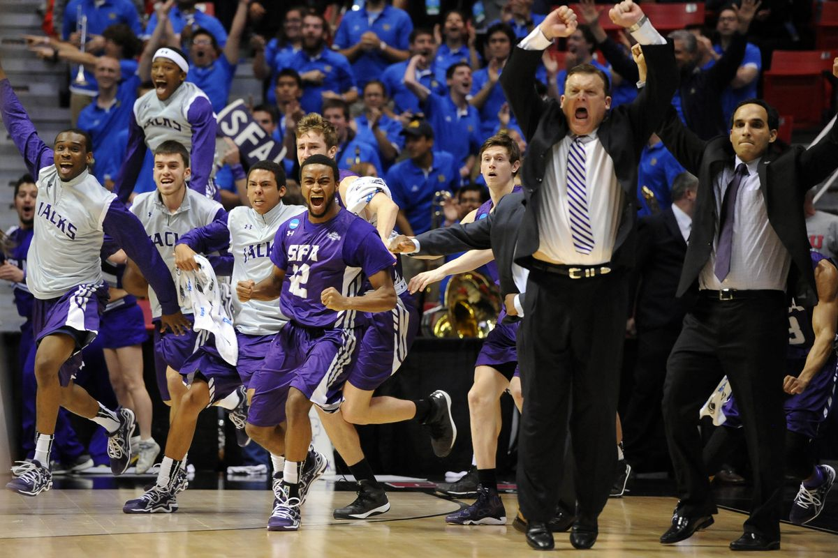 Coach Brad Underwood and the SFA Lumberjacks celebrate after beating VCU in last year's NCAA Tournament