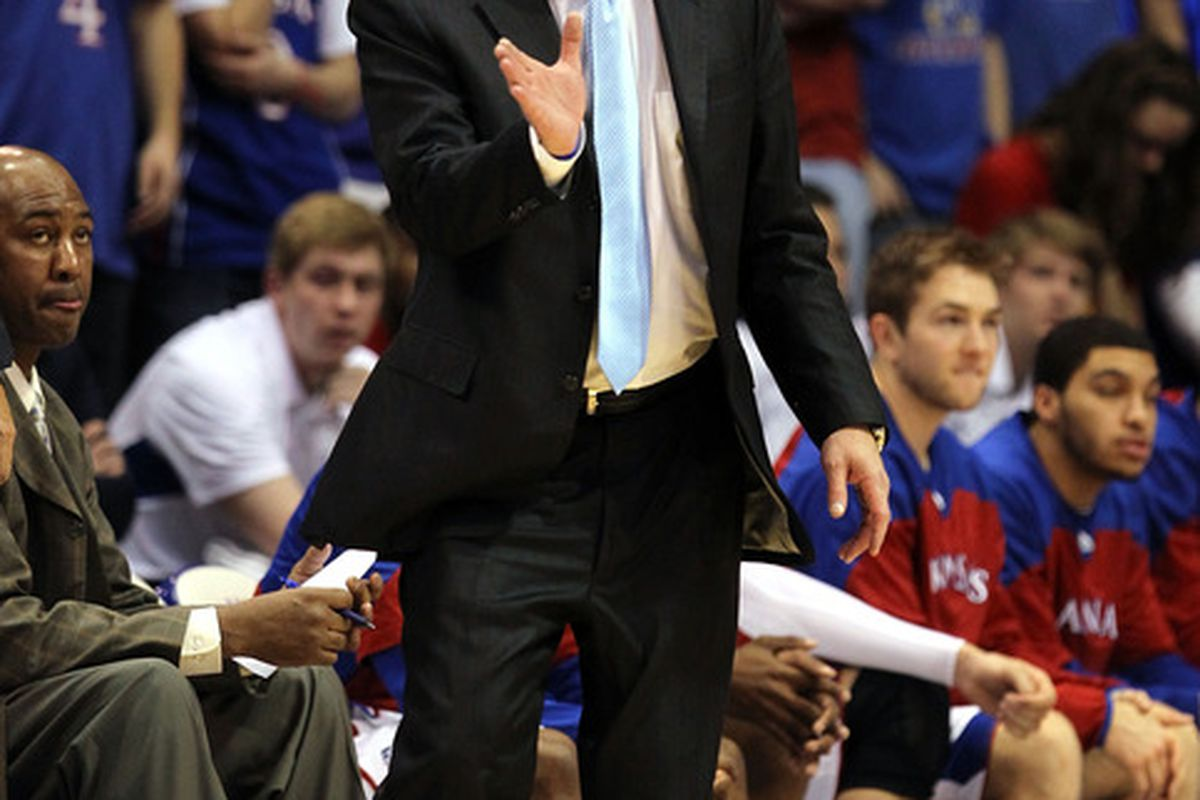 LAWRENCE, KS - FEBRUARY 01:  Head coach Bill Self of the Kansas Jayhawks reacts from the bench during the game against the Oklahoma Sooners on February 1, 2012 at Allen Fieldhouse in Lawrence, Kansas.  (Photo by Jamie Squire/Getty Images)