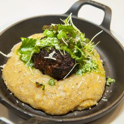 """""""Blue Plate:"""" Spring Meatball with Polenta and Herb Salad"""