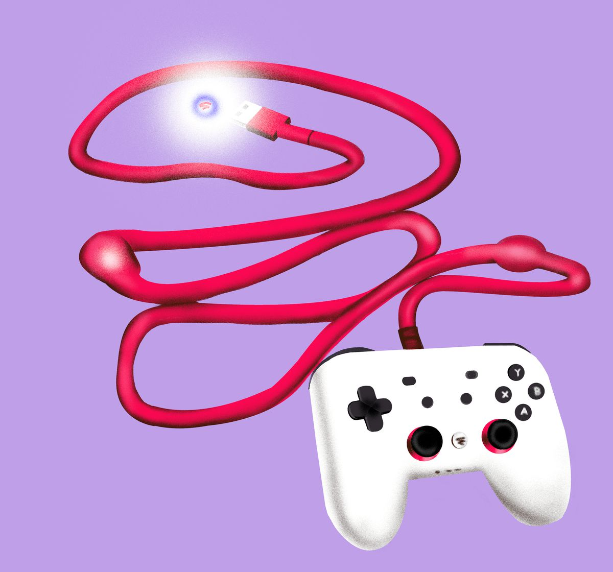The Google Stadia controller, illustrated as having blockages in a connecting cable