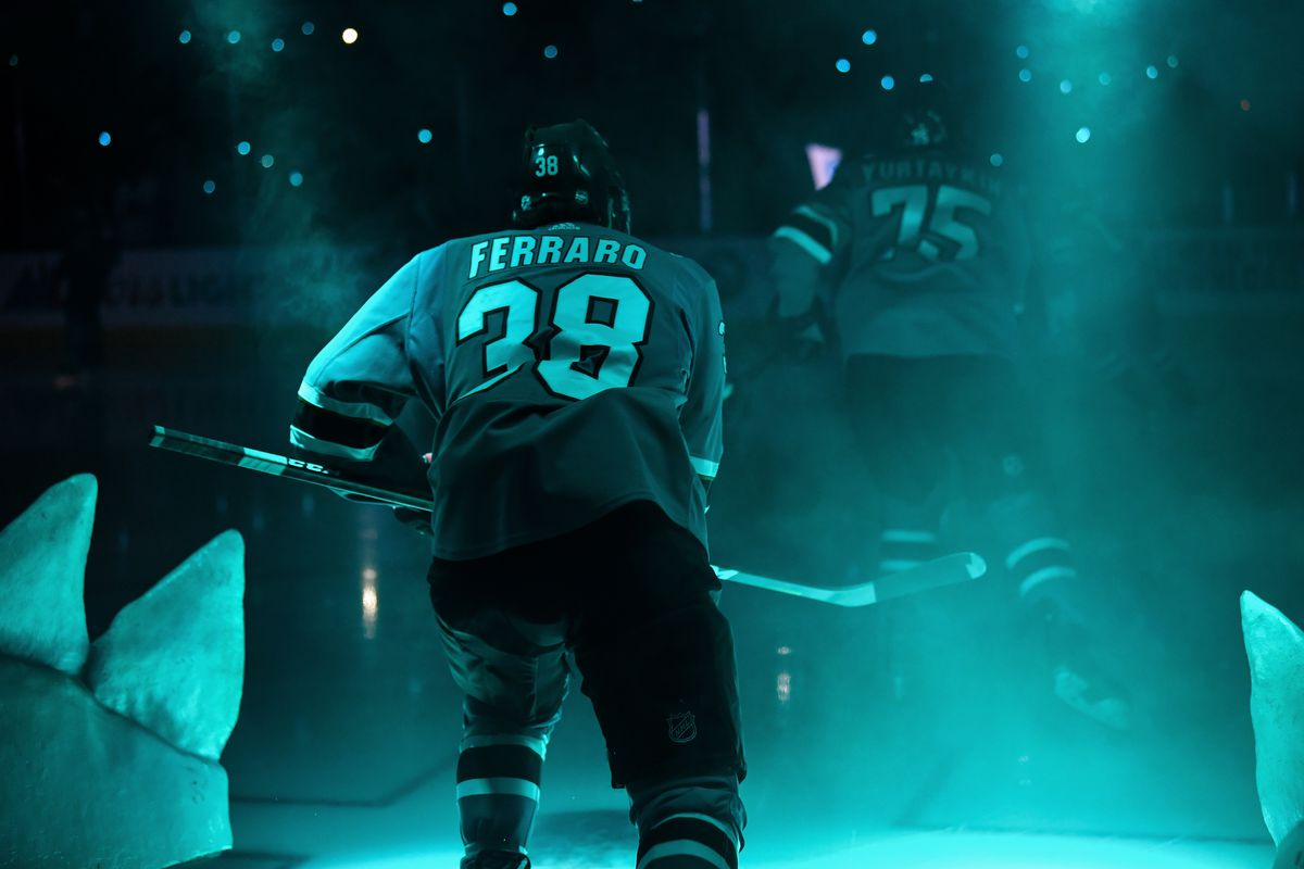 Mario Ferraro #38 of the San Jose Sharks takes the ice against the Vegas Golden Knights at SAP Center on October 4, 2019 in San Jose, California.