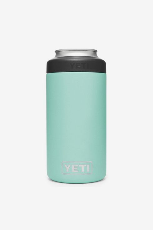 A 16 Oz. tall can with a teal insulated coozie