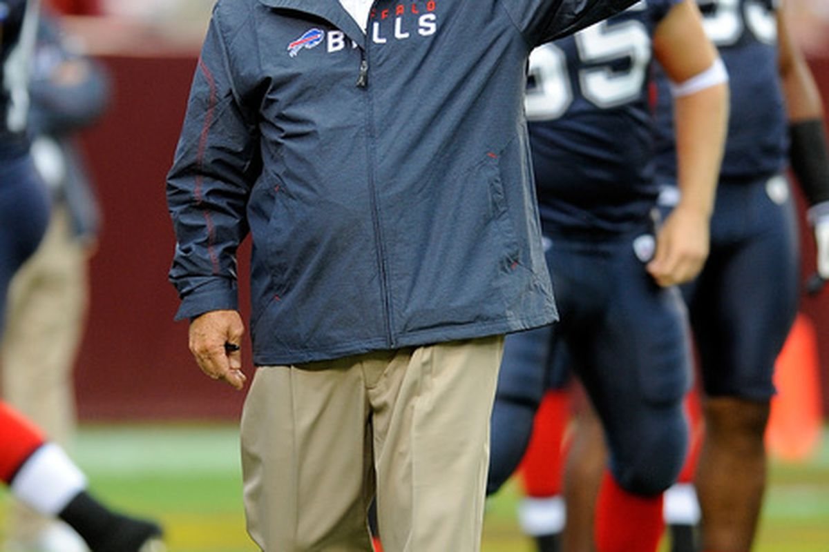 LANDOVER MD - AUGUST 13:  Head Coach Chan Gailey of the Buffalo Bills watches warm ups before the preseason game against of the Washington Redskins at FedEx Field on August 13 2010 in Landover Maryland.  (Photo by Greg Fiume/Getty Images)