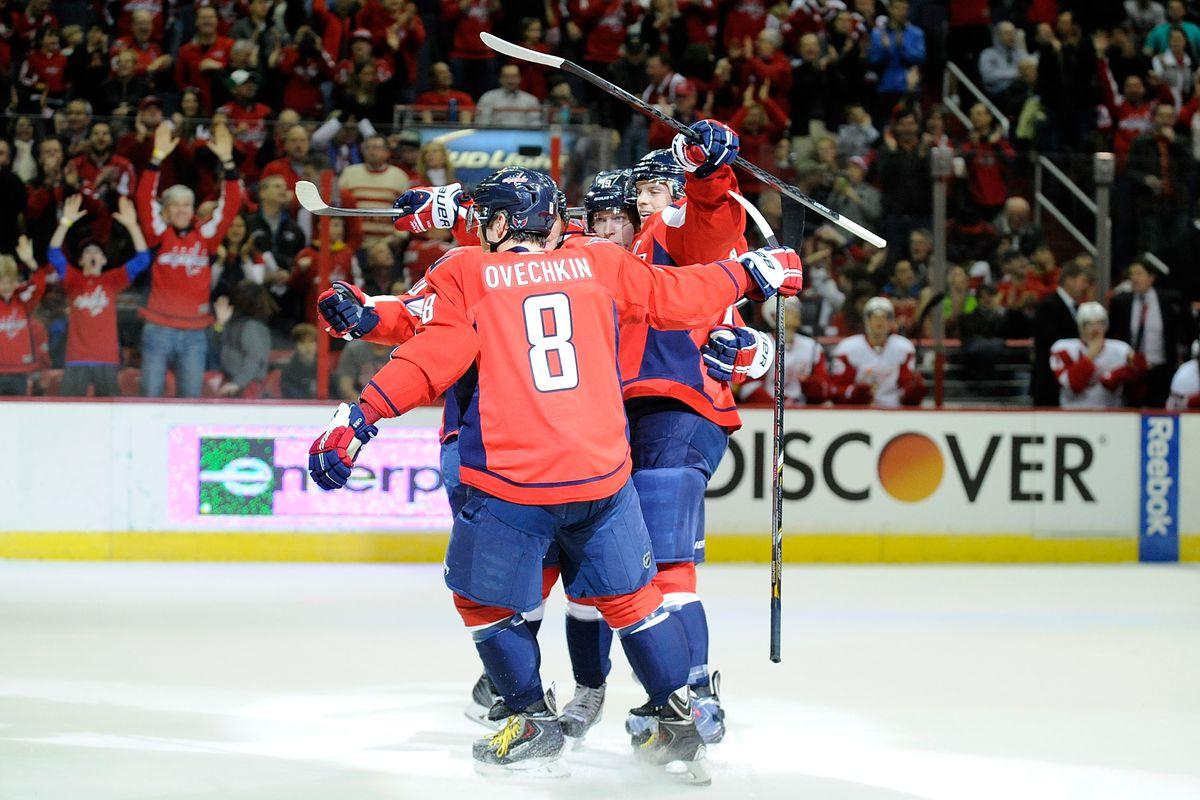 Ovechkin celebrates scoring the OT winner against Detroit