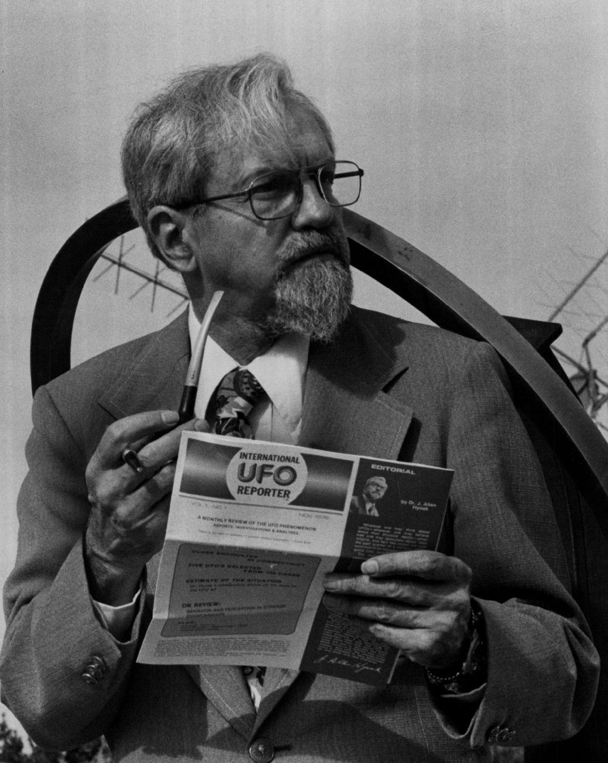 """J. Allen Hynek in 1977. He was a technical adviser and consultant for the Steven Spielberg movie """"Close Encounters of the Third Kind."""""""